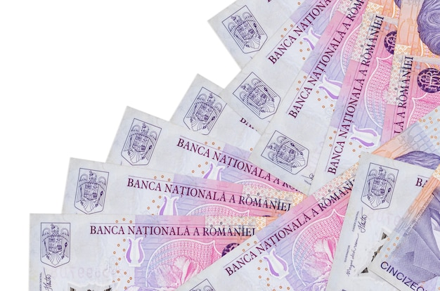 50000 romanian leu bills lies in different order isolated on white