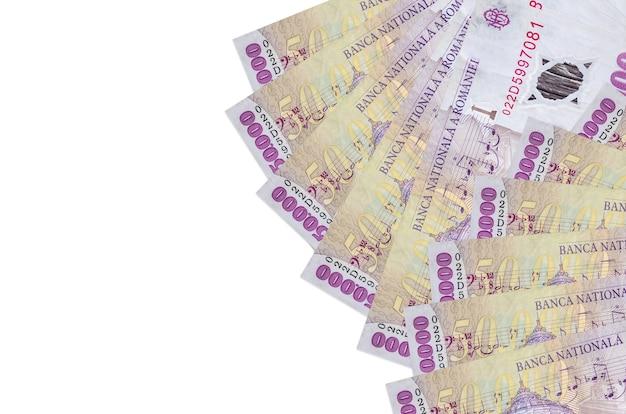 50000 루마니아어 레우 지폐는 고립되어 있습니다. 풍부한 생활 개념적 배경. 많은 국가 통화 부
