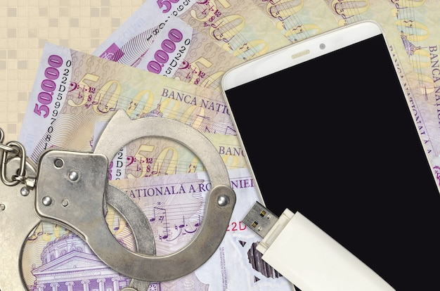 50000 romanian leu bills and smartphone with police handcuffs