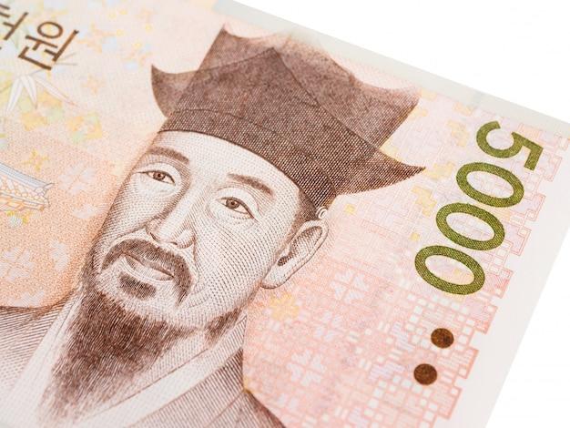 韓国5000ウォン紙幣通貨クローズアップマクロ、韓国のお金