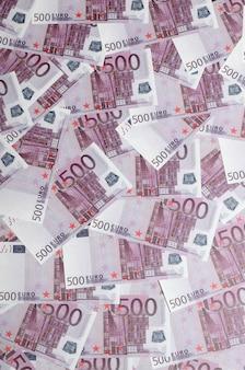 背景写真を閉じる欧州連合通貨の500ノートの量