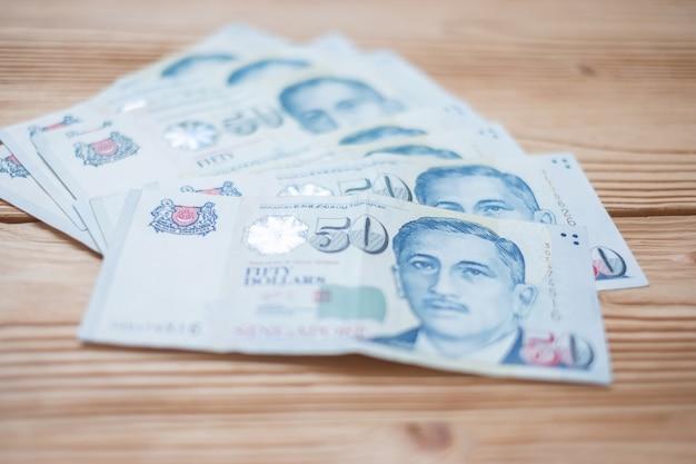 50シンガポールドル紙幣。ビジネス、金融