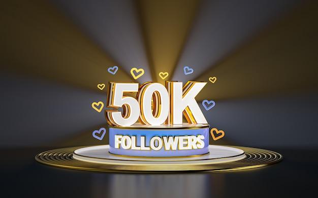 50k 추종자 축하 스포트라이트 골드 배경 3d 렌더가 있는 소셜 미디어 배너 감사