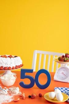 케이크 요리 재료로 50 번째 생일 준비