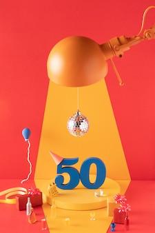 축제 장식으로 50 번째 생일 준비