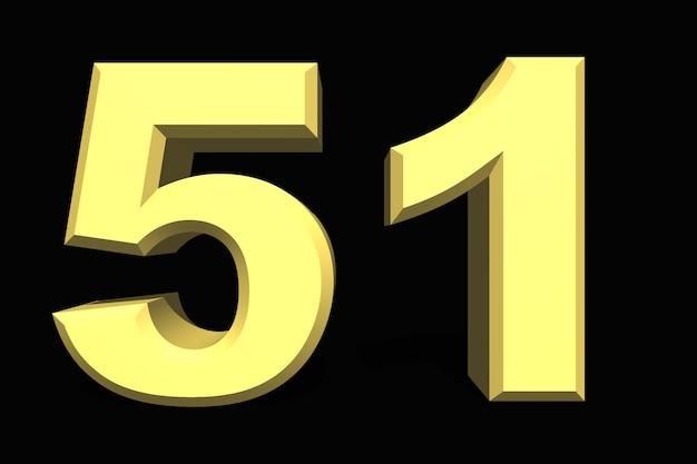 51 пятьдесят один номер 3d синий на темном фоне
