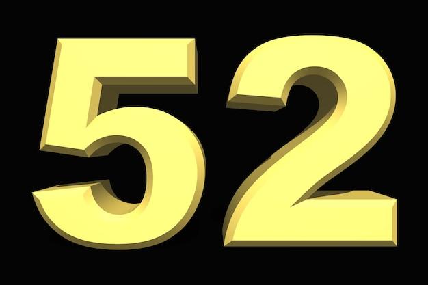 52 пятьдесят два числа 3d синий на темном фоне