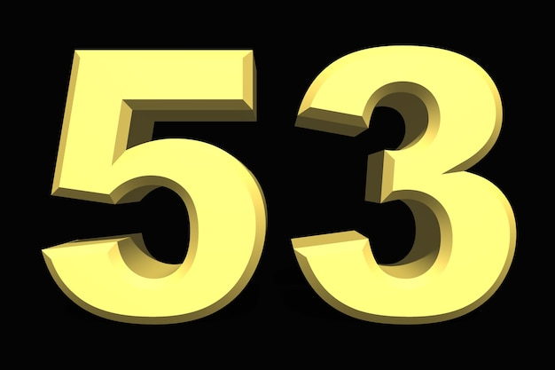 53 пятьдесят три числа 3d синий на темном фоне