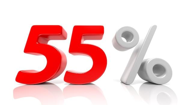 55パーセントの青いシンボルが白い背景で隔離。 3dレンダリング