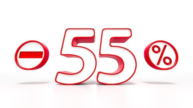55パーセントの赤いシンボルが白い背景で隔離。 3dレンダリング