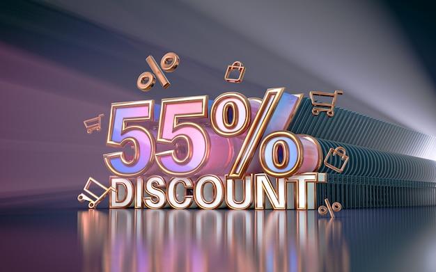 소셜 미디어 프로모션 포스터 3d 렌더링을 위한 55% 특별 할인 배경