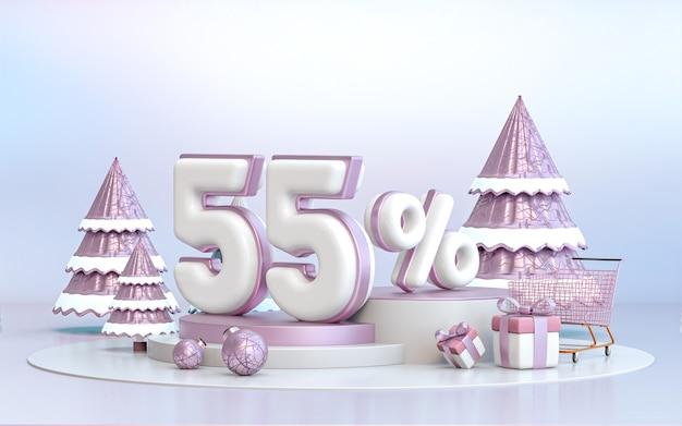 55-процентное зимнее специальное предложение со скидкой фон для рекламного плаката в социальных сетях 3d-рендеринга