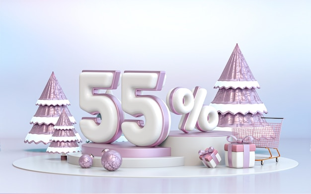 55 percent winter special offer discount background for social media promotion poster 3d rendering