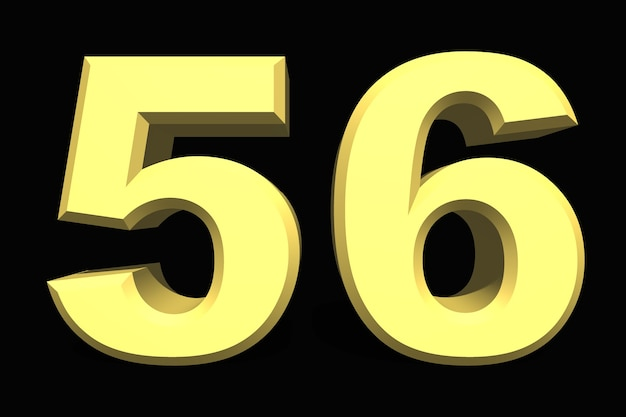 56 fifty-six number 3d blue on a dark background