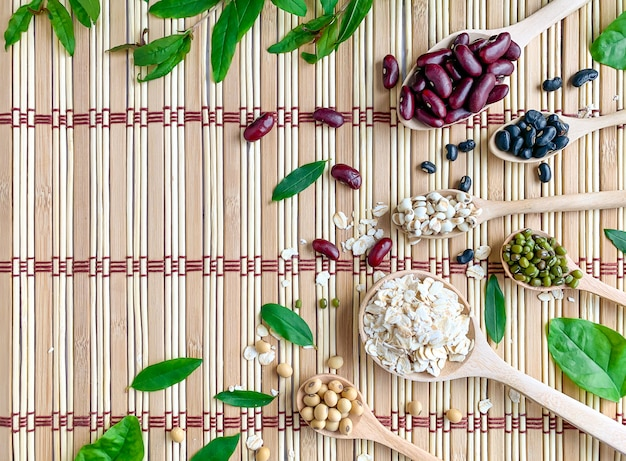 5色の穀物の平面図