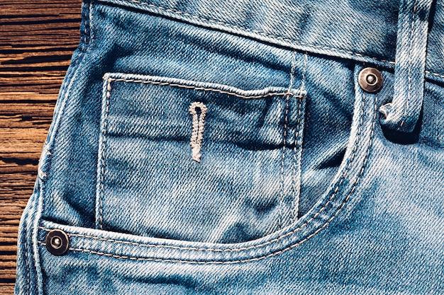 ジーンズの前の5番目の小さなポケットのクローズアップ