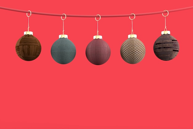 5christmas balls on red background