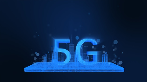 5g on blue wireframe city building and cell phone, glow light particle. 3d rendering.