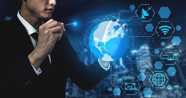 글로벌 비즈니스 성장, 소셜 미디어, 디지털 전자 상거래 및 엔터테인먼트 가정용을위한 5g 통신 기술 무선 인터넷 네트워크.