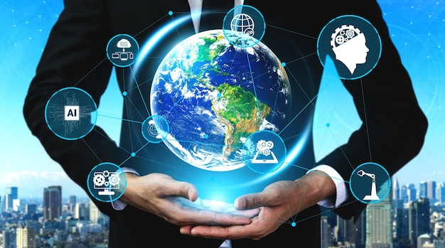 글로벌 비즈니스 성장, 소셜 미디어, 디지털 전자 상거래 및 엔터테인먼트 가정용 5g 통신 기술 무선 인터넷 네트워크 프리미엄 사진