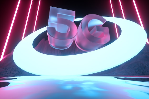 Футуристическая концепция 5g. современные неоновые абстрактные. отражение света на мокрой поверхности. 3d визуализация