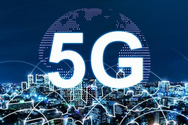 5g. 밤 도시 배경, 디지털, 인터넷, 통신, 사이버 기술, 고속 인터넷, 네트워킹, 스마트 시티, 파트너십, 네트워크 연결, 기술 개념에 연결하는 글로벌 미디어 링크