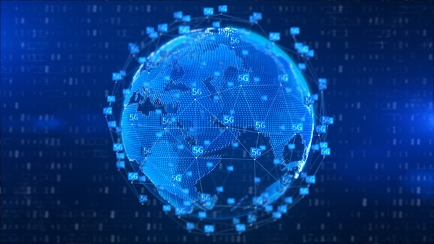 5 gの高速接続未来の抽象的なデジタル技術の背景