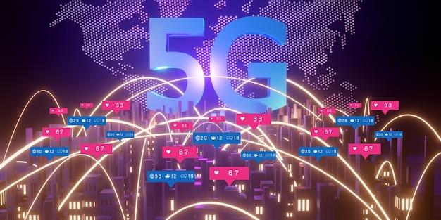 Концепция высокоскоростного интернета 5g, беспроводная сеть 5g на фоне города, 3d-рендеринг
