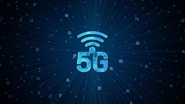 5gの高速インターネット接続ラインとドットがモノのインターネットiotを接続します