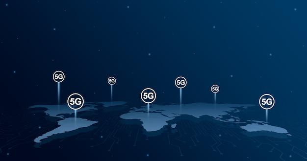 세계지도 3d의 모든 대륙에 5g 로고 아이콘