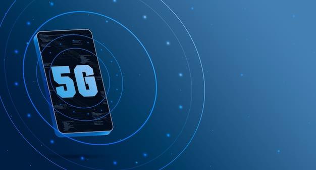 Логотип 5g на телефоне с технологическим дисплеем, умный 3d рендеринг