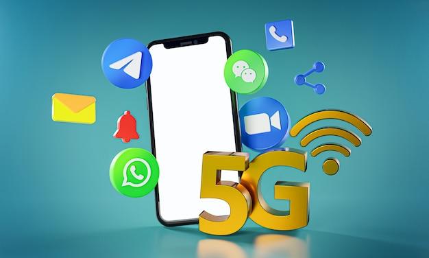 5g самое популярное коммуникационное приложение zoom telegram whatsapp wechat icons.