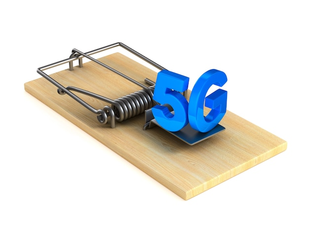 5g and mousetrap. isolated 3d rendering