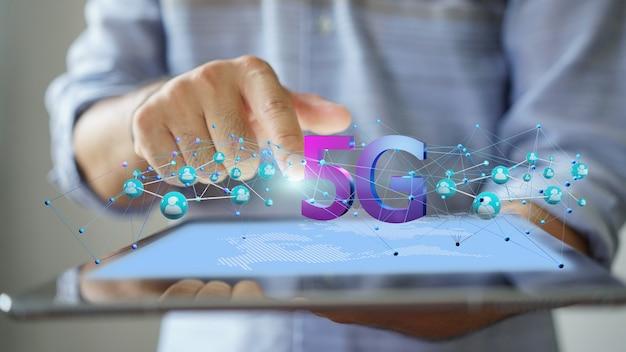 5gネットワークの概念、高速インターネット、ネットワークワイヤレス技術、3dレンダリング