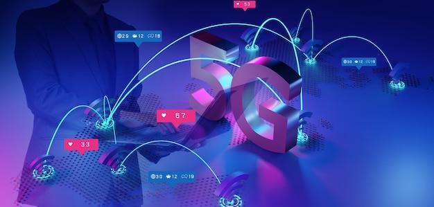 5g 네트워크 개념, 고속 인터넷, 네트워크 무선 기술, 3d 렌더링