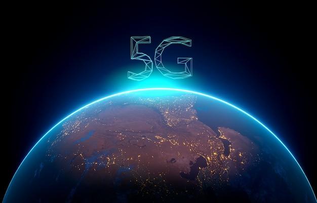 5g 네트워크 디지털 홀로그램 및 인터넷 background.3d 렌더링