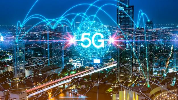 5gネットワークデジタルホログラムと市内のもののインターネット