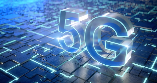 5g network internet mobile wireless business concept.3d rendering.