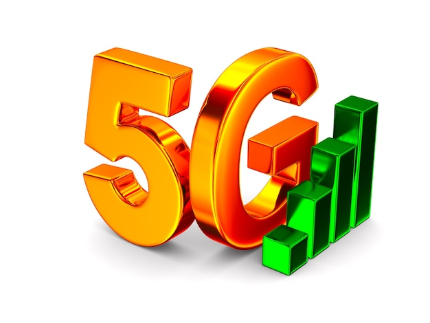 5g network on white space. isolated 3d illustration