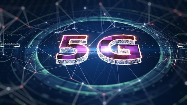 Сеть 5g беспроводной интернет wi-fi соединение. 5g-соединение цифровых данных и футуристической информации. абстрактный высокоскоростной интернет вещей облачные вычисления больших данных iot. 3d-рендеринг