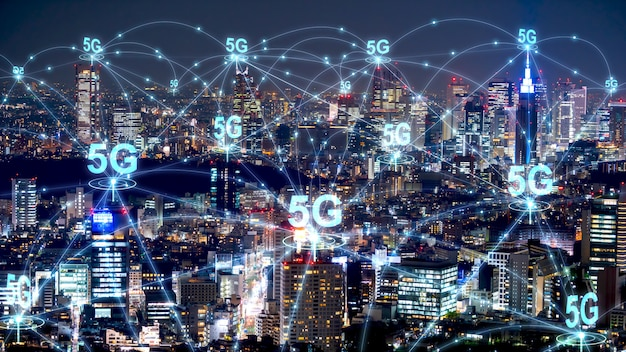 5g network wireless systems in modern city