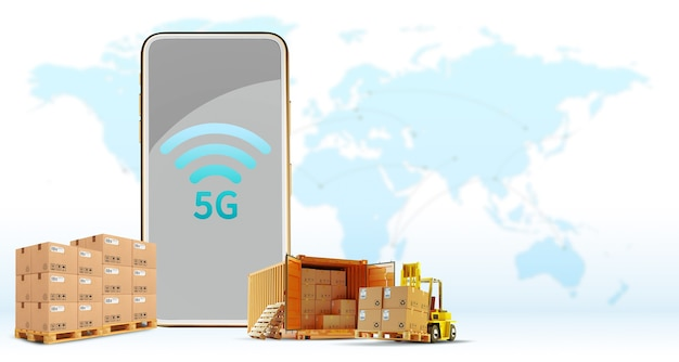 5g phone online wireless connection, delivery, transportation, logistics cargo truck the concept of high-speed communication for businesses with world map background