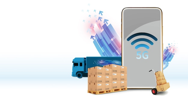 5g phone system communication concept, online wireless connection, high speed, shipping, transport, logistics