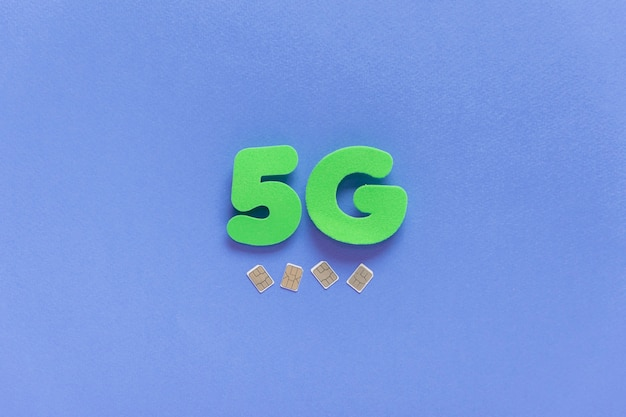 5g on plain background with sim cards
