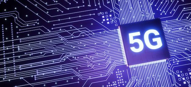 スマートフォンの回路基板上の5gサポートマイクロチップ、スマートiot通信マイクロプロセッサ、3dレンダリングの未来的な高速リアルタイムモバイルネットワークインターネット技術の概念の背景