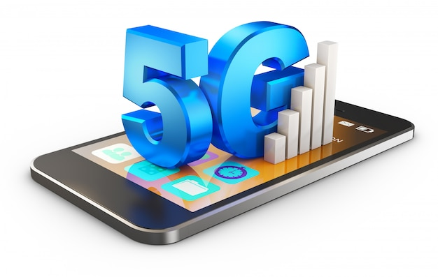 5g symbol  and smartphone on a white background . 3d rendering.