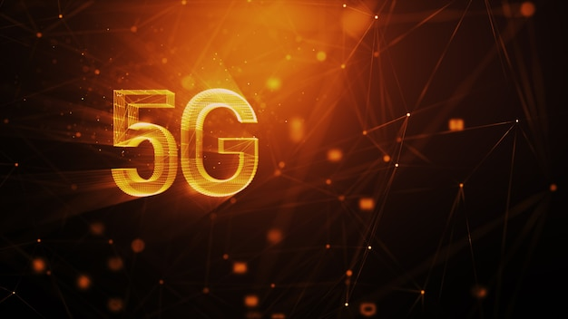 5g technology abstract background, with blur lighting particle and connection line, for cyber technology futuristic and communication concept