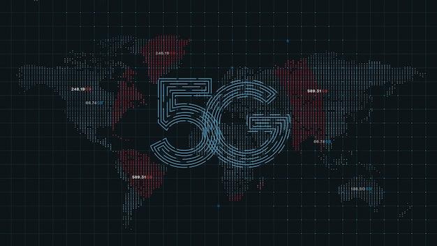 世界地図のドットの5 g技術インターネット