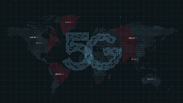 5g technology internet on world map dots