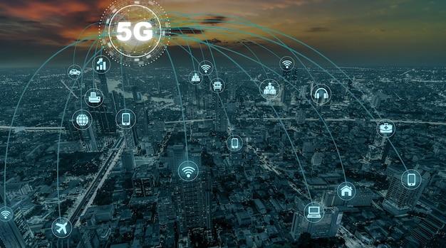 Технология 5g с соединительной линией компьютерной сети между зданиями